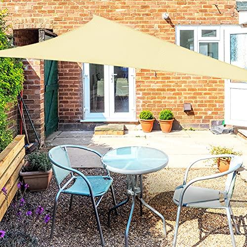 OKAWADACH Toldo Vela de Sombra Triangular 2 x 2 x 2m, Vela de Sombra Protección UV para Patio, Exteriores, Jardín, Beige Claro