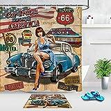 Wild One Curtain Route 66 Duschvorhang-Set, American Poster-Stil, Hot Girl Duschvorhang mit Auto-Motiv, wasserdicht, 122 x 183 cm (B x H)