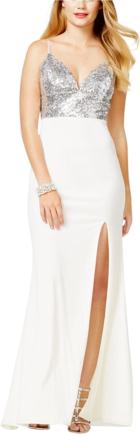 City Studio Womens Sequined Gown Dress