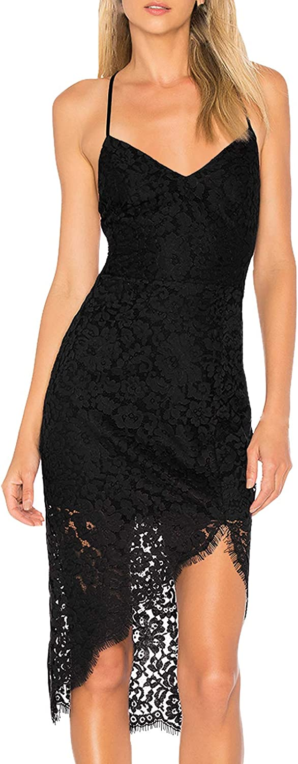 AOOKSMERY Women Summer V-Neck Spaghetti Straps Lace Backless Party Dress High Low Cocktail Bodycon Midi Dresses