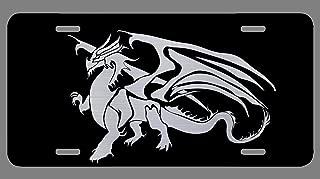 Vincit Veritas Dragon Black Etched License Plate   Premium Quality   12-Inch By 6-Inch   LP026