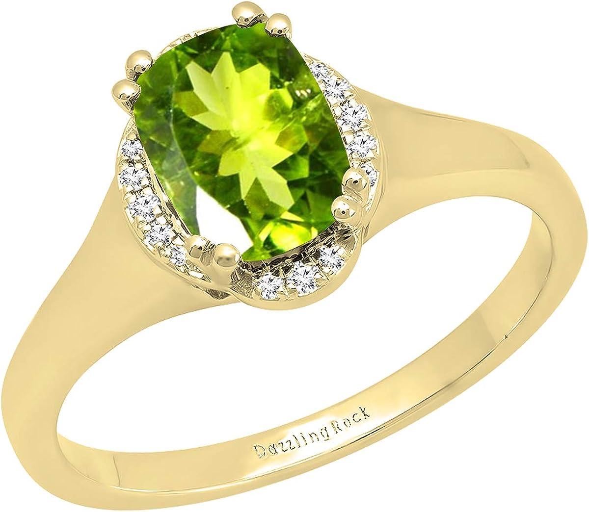 Dazzlingrock Collection 10K 8X6 MM Cushion Gemstone & Round White Diamond Ladies Bridal Engagement Ring, Yellow Gold