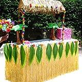 HBBMagic Falda de mesa hawaiana Luau de 2,7 m, color dorado con 16 hojas verdes grandes, falda de mesa hawaiana para fiesta temática, decoración de bodas y cumpleaños