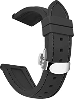 OLLREAR Silicone Watch Strap Replacement Rubber Watch Band Steel Butterfly Deployant Clasp -8 Colors & 5 Sizes - 16/18/20/22/24mm