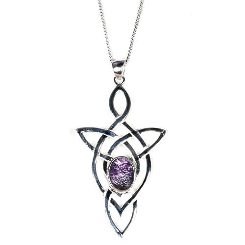 Silver//Derbyshire Blue John Celtic Kiss Pendant and Chain