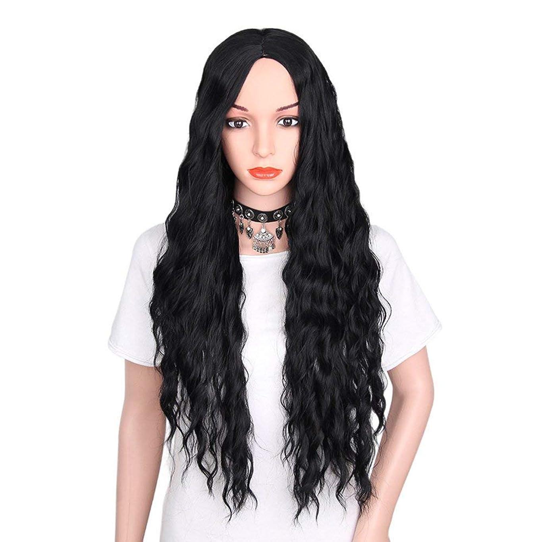 相互接続キャリッジスリル女性のためのかつらの長い巻き毛の自然な作られた合成耐熱かつら