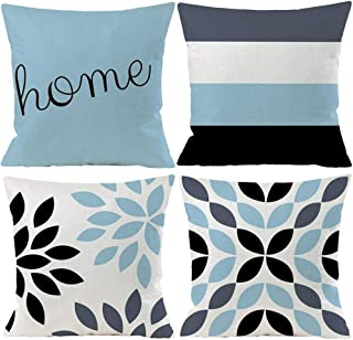Best Guhoo Set of 4 Geometric Sky Blue Flower Abstract Decorative Throw Pillow Case Cushion Cover 18 x 18 inch Review