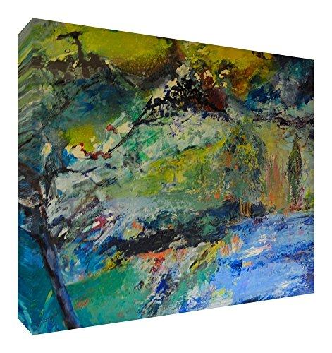 Feel Good Art Toile aux Couleurs Vives Abstrait Appartenant de l'Artiste Val Johnson Ciel Bleu 30 x 20 x 4 cm Petite