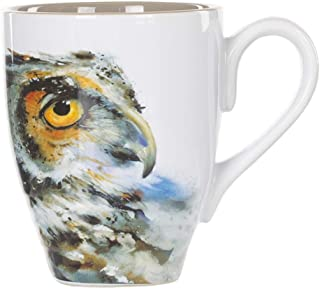 Dean Crouser Owl Watercolor Gray On White 16 Ounce Glossy Stoneware Mug With Handle