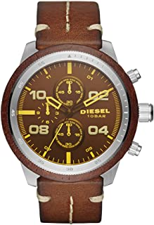 Men's DZ4440 Padlock Stainless Steel Brown Leather Watch