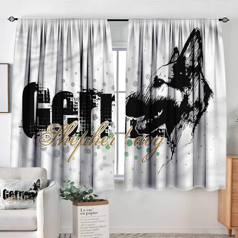 Sanring German Shepherd,Bocking Ight Rod Curtains Halftone Hound Dog 42 X72  for Baby Bedroom