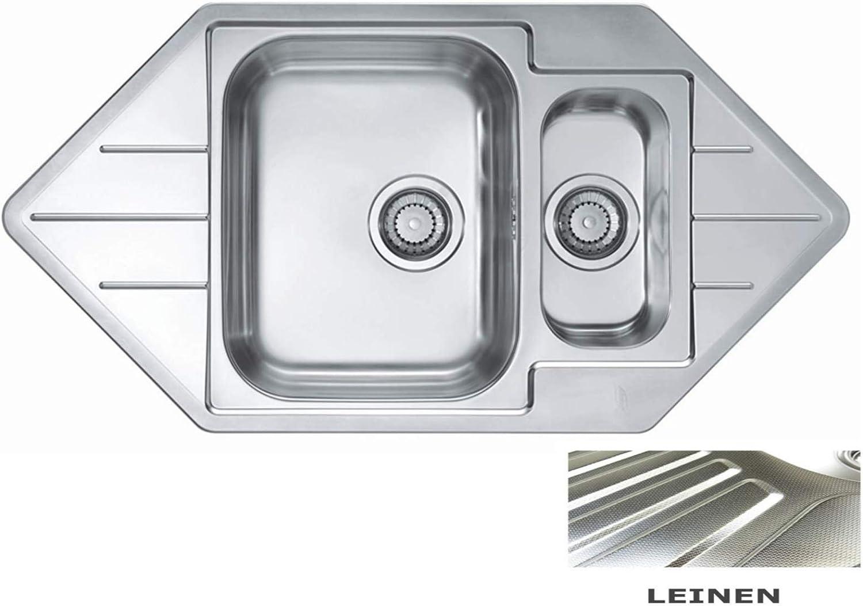 VBChome Corner Built-in Sink 985 x 500 mm 1.5 Basin Camping Kitchen Sink - Alveus Line 40 Sink Stainless Steel Kitchen Sink Corner Sink Drain Set, Silver