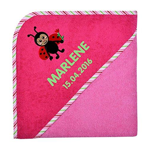 Wolimbo Kapuzenbadetuch mit Ihrem Wunsch-Namen und Wunsch-Motiv - Format: 80x80cm - Farbe: pink Rand gestreift - Das individuelle und kuschelig weiche Badehandtuch für Mädchen und Jungs