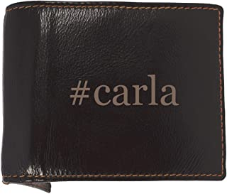 #carla - Soft Hashtag Cowhide Genuine Engraved Bifold Leather Wallet