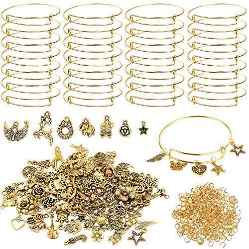 UPINS 30Pcs Gold Expandable Bangles Bracelets Kits Adjustable Wire Blank Bracelets with 100Pcs Tibetan Antique Gold Charms, 200Pcs Open Jump Rings for DIY Jewelry Making