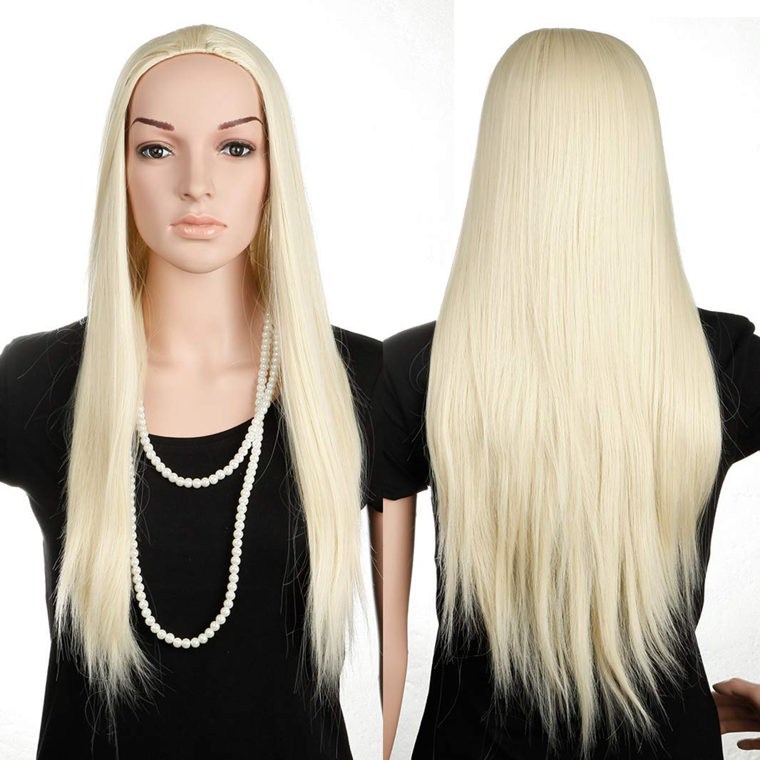 bleach blonde straight Women Ladies 3 Half It is very popular Fall Straight Wig 4 Translated
