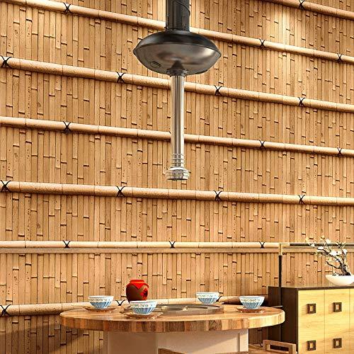 Waterdicht behang van Chinese bamboe, klassiek, restaurant, bar, retro, restaurant, klassiek, voor thee, 3D-design C.