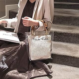 WTYD Single Shoulder Bag 2 in 1 Straw Bag Single Shoulder Bag Ladies Handbag Messenger Bag (Black) (Color : White)