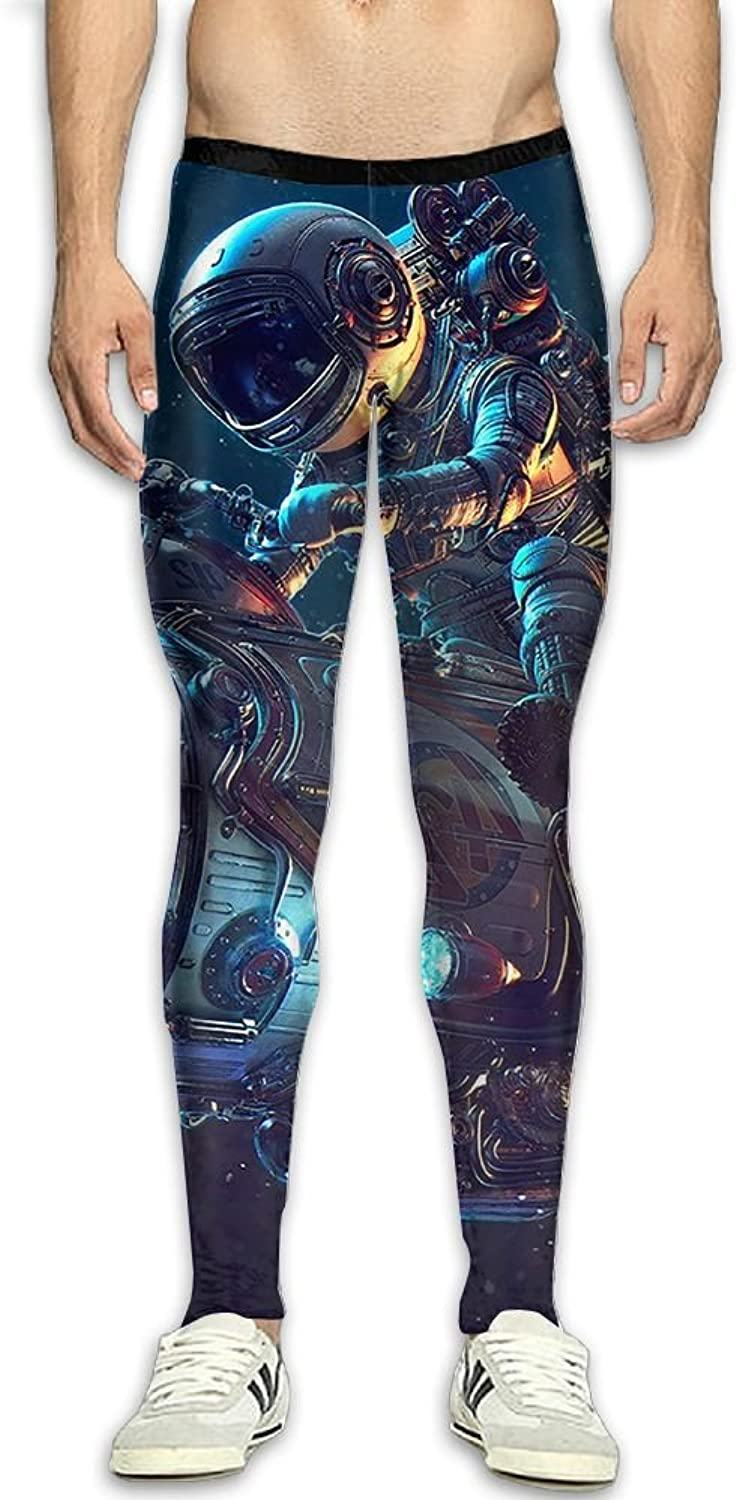 Space Astronaut Rocket Men's Fitness Compression Pants Sports Leggings Tights Baselayer Yoga Trousers