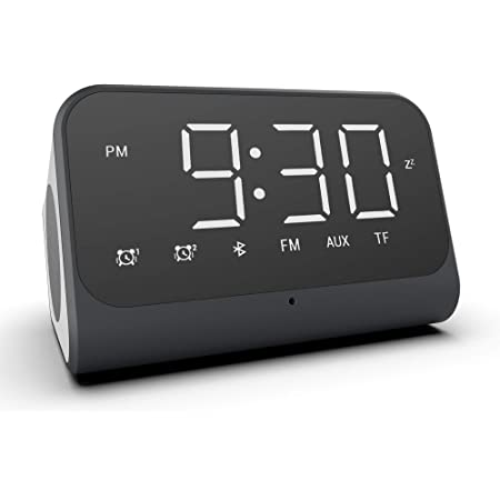 Pink Beenle-Icey New Bluetooth Alarm Digital Clock Mirrored MP3 FM Radio Speaker Battery Powered Stereo Sound LED display Mirror Screen for Kids Bedside Livingroom Desk
