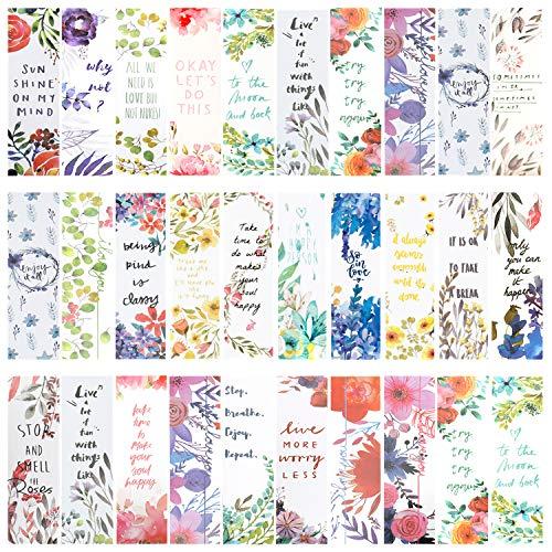 Xinzistar 30 Pezzi Segnalibro Carta Segnalibri Clip di Pagina Design Floreale e Parole Ispiratrici Bookmark per Bambini Studenti Scuola Lettura Cancelleria