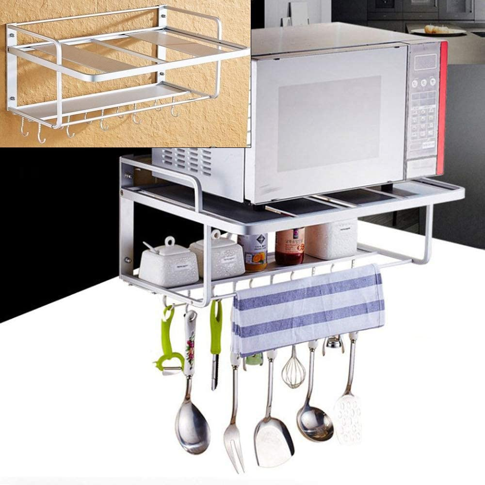 QIZHI Microwave Oven Rack 上等 with Shelf Hooks Counter Space 人気ブレゼント Kitchen