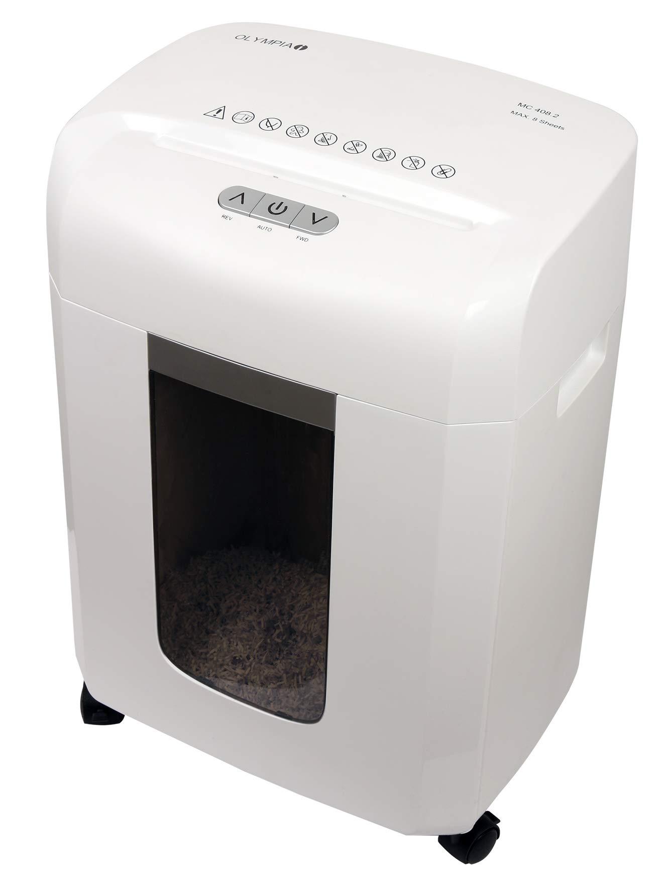 Olympia MC 408.2 Micro-cut shredding, 22 cm, 2 x 15 mm, 16 L, 65 dB, Blanco Triturador de papel