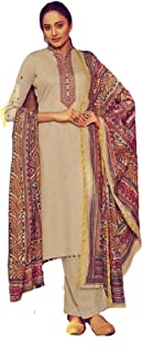 DS Collection Womens Pakistani Beautiful Embroidered Suits Fancy Colorful Party & Occasional Wear Pure Jam Satin Digital P...