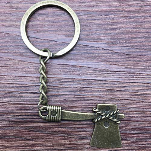 Taoziaa sleutelring, bijl, 40 mm, antiek brons, modieus, handgemaakt, metaal, keychain, souvenir, geschenken voor vrouwen
