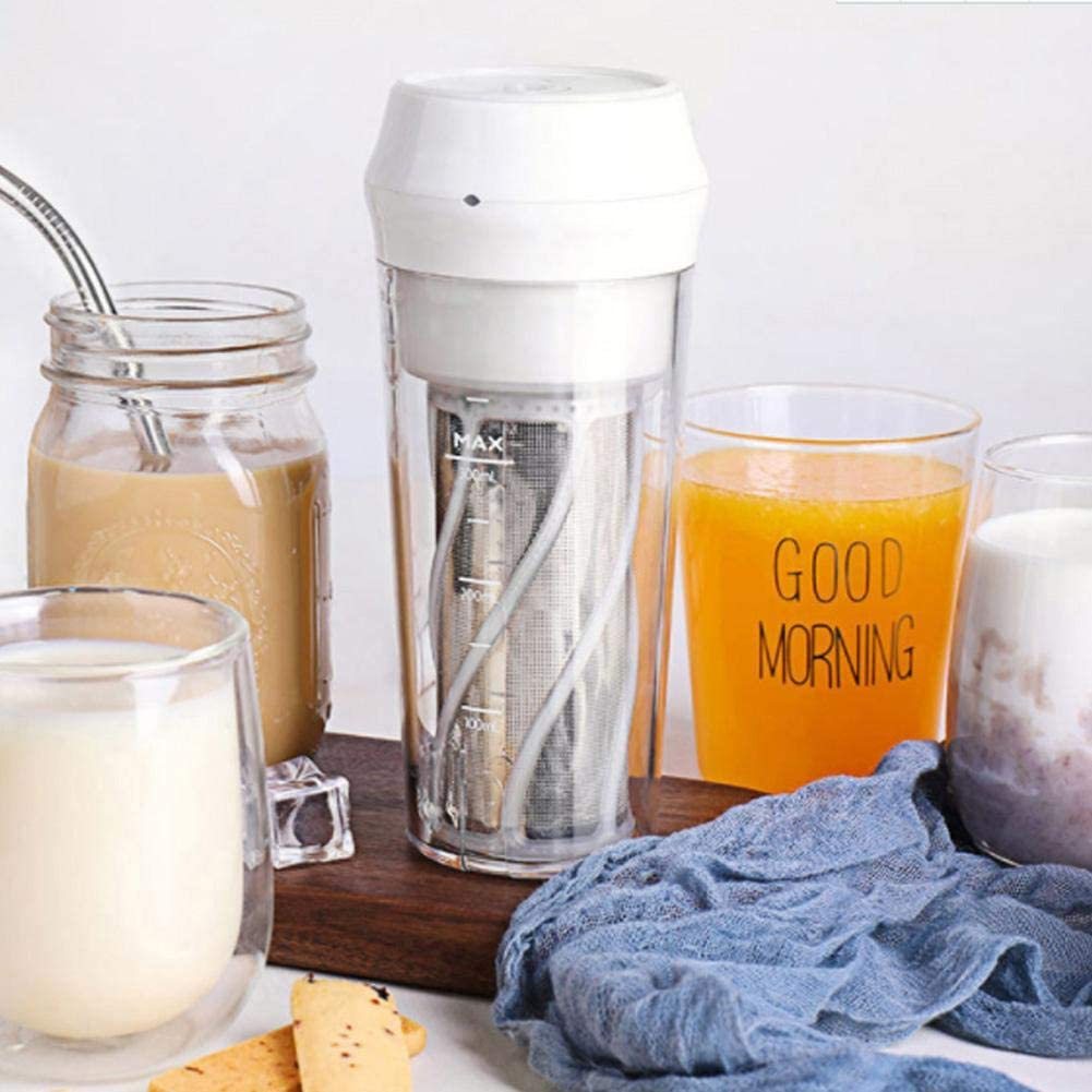 Exprimidor eléctrico duradero y liviano, pequeño exprimidor portátil de jugo Exprimidor eléctrico doméstico Mini máquina automática de jugo(Blanco) Rosado