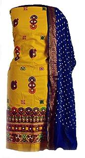 KATHIWALAS Women's Cotton Silk Kutch Work Bandhani/Bandhej Unstitched Dress Material Suit (YELLOW BLUE, Free Size)