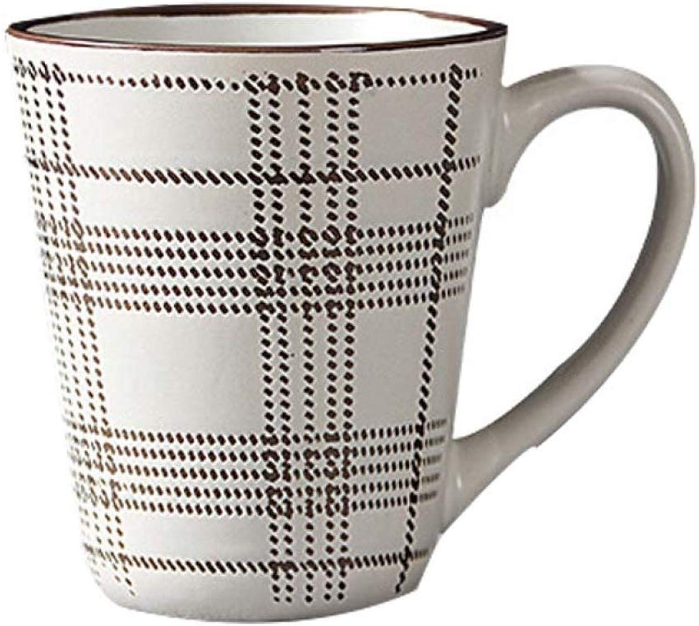 XTSHOP Mugs Style européen, Lignes métalliques peintes à la Main, modèle rétro, Tasse en céramique, Bureau à Domicile, café en Porcelaine, thé, Coupe à Boire Simple s