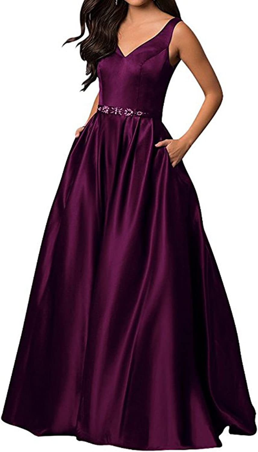 Alilith.Z Sexy V Neck Long Prom Dresses Beaded Sash Formal Evening Dresses Party Gowns for Women with Pockets