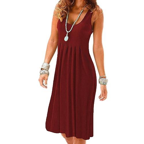 ebe22b1a01 VERABENDI Women s Summer Casual Sleeveless Long Sleeve Mini Plain Pleated  Tank Vest Dresses