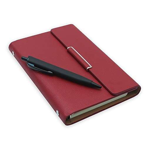 COI Business Faux Leather Undated Planner / Diary With Pen (Crimson Red)