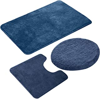 3 Piecse Bathroom Rug Set,Non-Slip Bath Mats for Floors,Ultra Soft, Absorbent and Comfortable U-Shaped Contour Rug, Floor Mat and Toilet Lid Cover(Navy Blue)