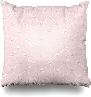 Ahawoso Throw Pillow Cover Decorative Square 18x18 Pearl Dot Fashion Lace Dotted Monochrome Bridal White Veil Vintage Wedding Antique Bead Bride Circle Zippered Pillowcase Home Decor Cushion Case