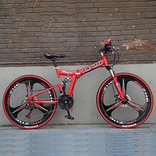 YEARLY Montagna bici pieghevole, Adulti bici pieghevole 21 velocità Regalo di studente Bicicletta pieghevole-Rosso 26inch