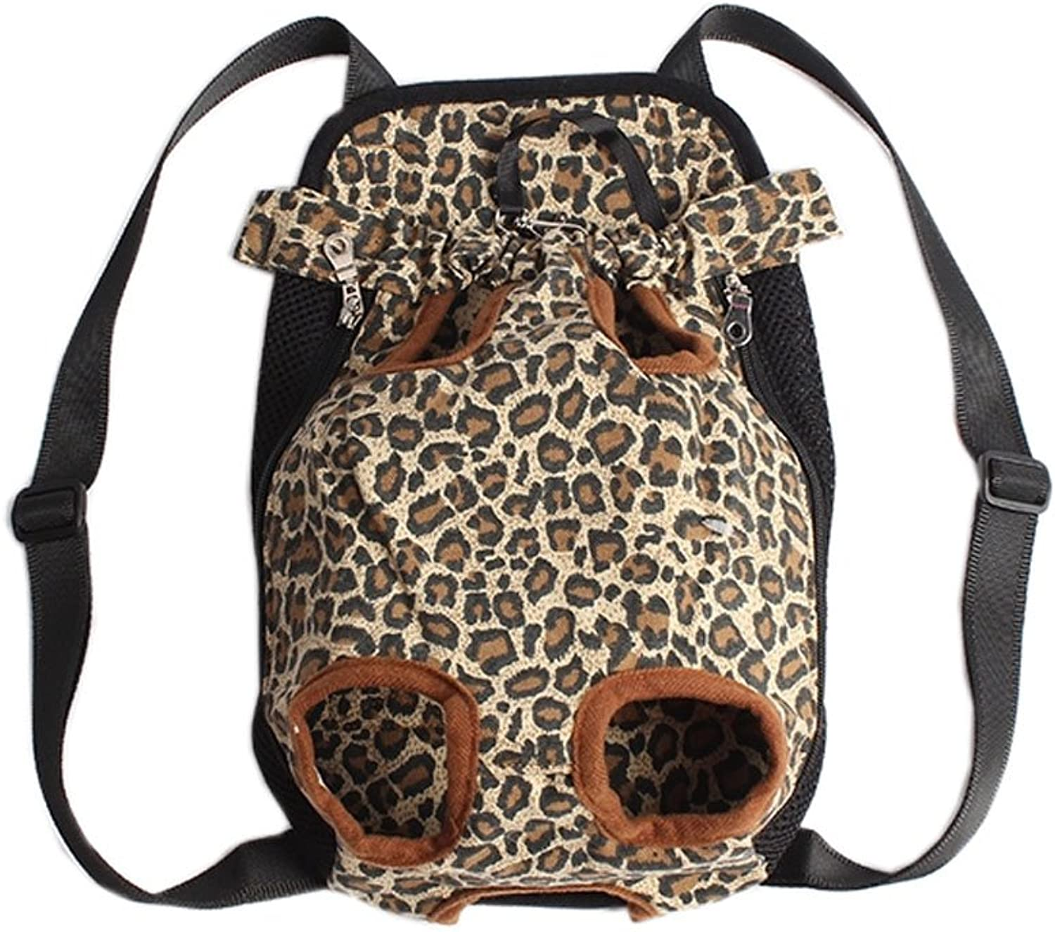 [Leopard] Portable Chest Carrier Backpack Bag for Pets Dogs(Bust 50cm,Up to 15LB)