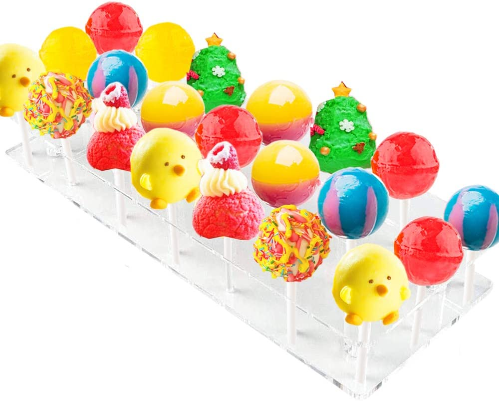 21 Hole Lollipop Display Stand,Clear Acrylic Lollipop Holder,Cake Pop Display Stand for Birthday,Wedding,Baby Shower Parties Candy Decoration