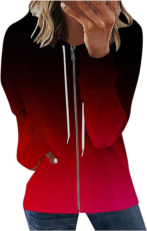 Hoodies for Women Zip Up, Womens Long Sleeve Hoodie Jacket Gradient Hooded Sweatshirts Casual Loose Jacket Coats with Pocket