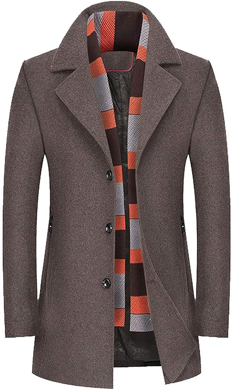 Igemy Business Trenchcoat Herren Casual Wool Long Thicken Slim Mantel