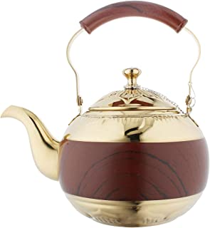 OMGard Gold Tea Pot with Infuser Loose Tea Leaf 2 Liter Stainless Steel Teapot Coffee Water Small Kettle Filter Set Warmer Teakettle for Stovetop Induction Stove Top 2.1 Quart / 68 Ounce