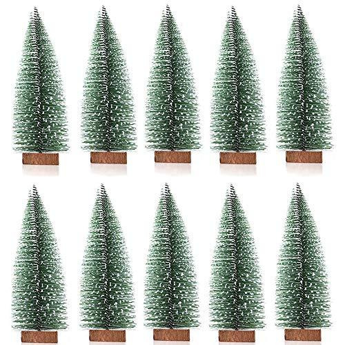 Limeow 10 Stück Mini Tannenbaum Deko Weihnachtsbaum Weihnachtsbaum Künstlich Mini Weihnachtsbaum Plastikweihnachtsbaum Weihnachtsbaum Christbaum für Tischdeko, DIY, Schaufenster, 10cm (Grün)