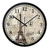 QXX Reloj silencioso/de Pared, Sala de Estar Creativa Mute Reloj de Pared Zona horaria Mundial de 12 Pulgadas/Londres, Reino Unido Hoteles Tower Bridge Recepción del Lobby Reloj de Cuarzo,A_14 Inches