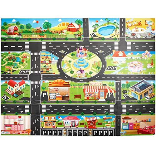 WE-WIN Tapis de jeu simulé ditinéraire de trafic,tapis de jeu grande ville Village et route, tapis de jeu souples et pliants pour enfants Enfants Garçons Filles 100cm x 130cm