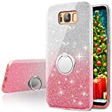 Galaxy S8 Plus Case,Silverback Girls Bling Glitter Sparkle Cute Phone Case with 360 Rotating Ring Stand, Soft TPU Outer Cover + Hard PC Inner Shell Skin for Samsung Galaxy S8 Plus -Pink