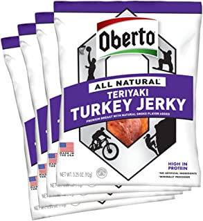 Oberto All-Natural Teriyaki Turkey Jerky, 3.25 Ounce (Pack of 4)