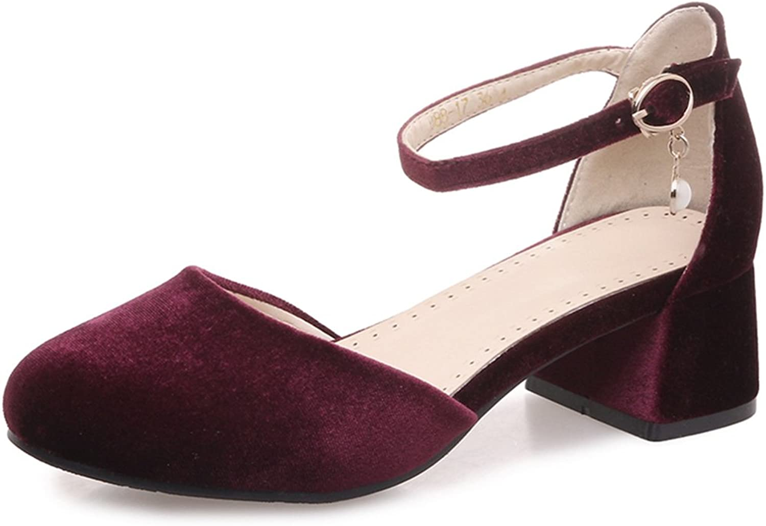 SaraIris Women's Chunky Mid Heel shoes D'Orsay Prom Casual Pumps