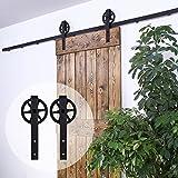 152CM/5FT puertas acero puerta corrediza de granero Hardware Herraje para Puerta de Granero Corredera de